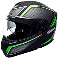 SMK Helmets - Glide - Kyren - Matt Black Grey Green - Pinlock Anti Fog Lens Fitted Dual Visor Flip Up Helmet - MA268 (Large - 580 MM)