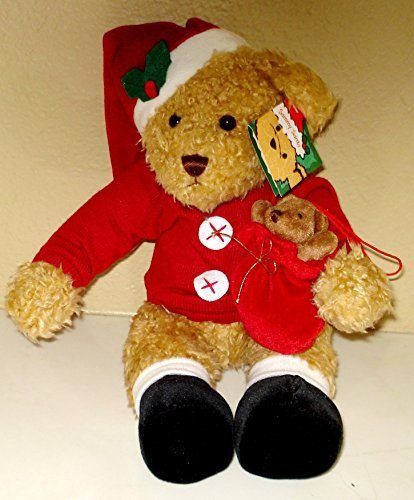 (SAMMY SANTA PLUSH BEAR WITH A LITTLE TEDDY IN HIS BAG - 11 INCHES)