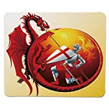 Yanteng Gaming Mouse Pad Dragon,Saint George with Fire Spitting Winged Creature Royal Knight Graphic Decorative,Silver Ruby Earth Yellow Stitched Edge