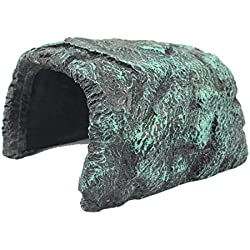Viper Reptile Amphibian Rock Hide Cave - Handcrafted From Premium, Non-Toxic Resin, Grey and Turquoise Colors, Ideal for Medium Sized Iguanas, Lizards, Geckos, Snakes