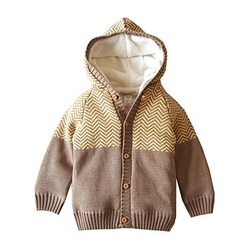 Dealone Baby Boys Hooded Cardigan Jacket Long Sleeve Striped Knitted Sweater Toddler Winter Warm Outerwear Khaki