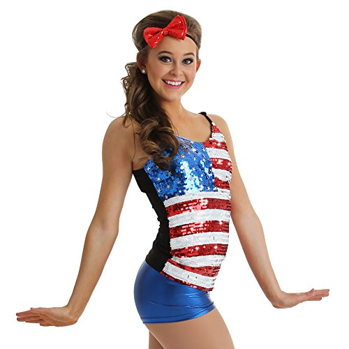 Alexandra Collection Womens Patriotic USA Dance Costume Tank Top Multi (Stars And Stripes Dance Costumes)