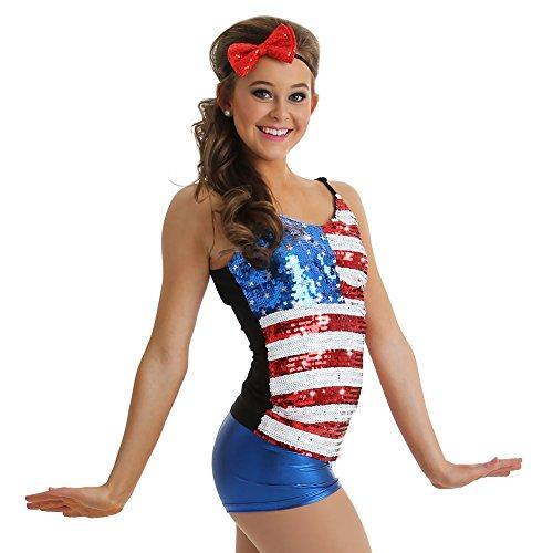 Usa Dance Costume (Alexandra Collection Womens Patriotic USA Dance Costume Tank Top Multi Small)