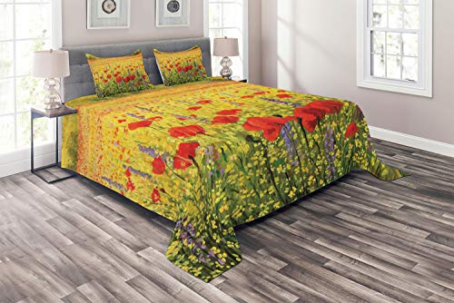 Ambesonne Flower Coverlet Set Queen Size, A Colorful Field with Poppies Yellow Flowers Lavendar Farmland Hills Scenery, 3 Piece Decorative Quilted Bedspread with 2 Pillow Shams, Yellow ()