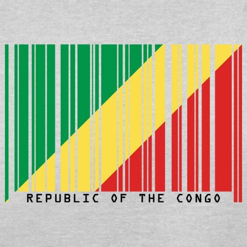 Republic of the Congo / Republik Kongo Barcode Flagge - Herren T-Shirt - Hellgrau - XL