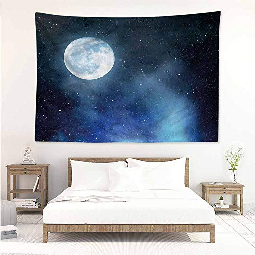 Sunnyhome Decorative Tapestry,Moon Starry Night Sky Full Moon,Large Tapestry,W60x40L