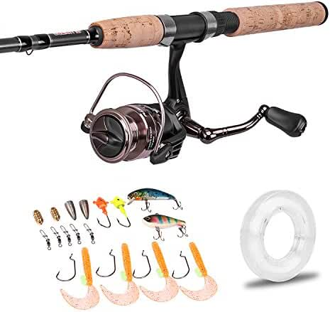 "PLUSINNO Spinning Rod and Reel Combos FULL KIT Graphite Blanks Rod Pole (2 Piece) with Reel Line Lures Hooks and Accessories Fishing Gear Organizer 7'0"" Medium …"