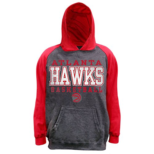 NBA Atlanta Hawks Unisex Pullover French Terry Hood, Char Hthr/Red