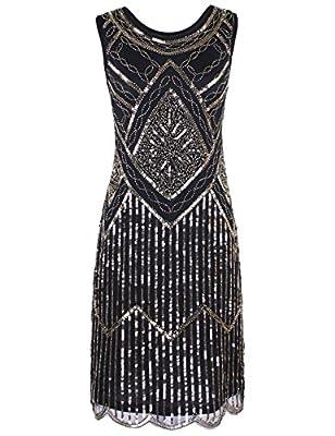 PrettyGuide Women's Vintage 1920s Sequin Beaded Scalloped Hem Flapper Dress