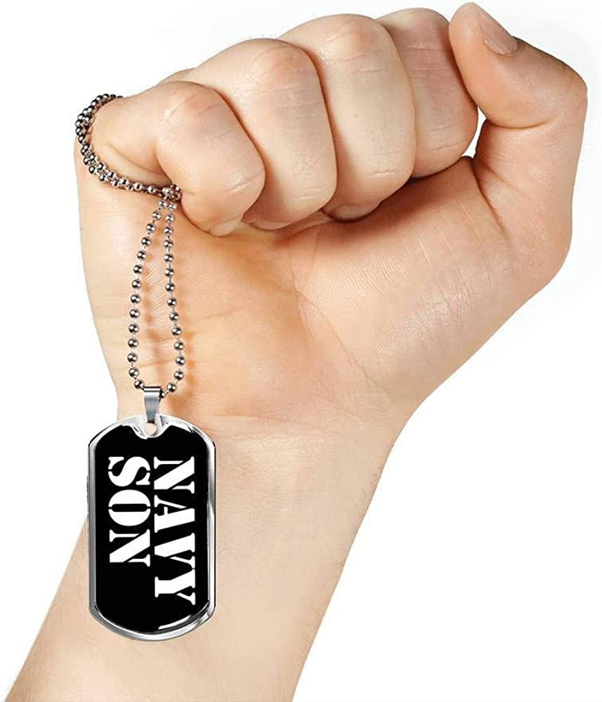Luxury Dog Tag Necklace Unique Gifts Store Navy Son v3