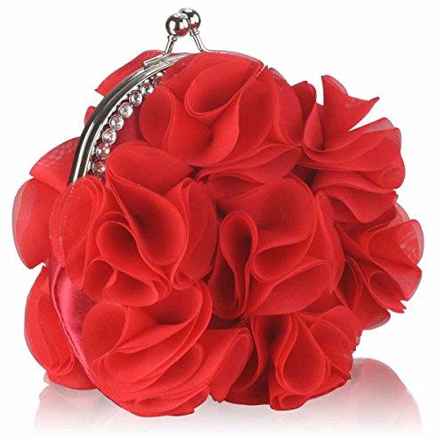 Zarla New Floral Ladies Clutch Bag Women Evening Party Prom Bridal Diamante Baguette Red Flower