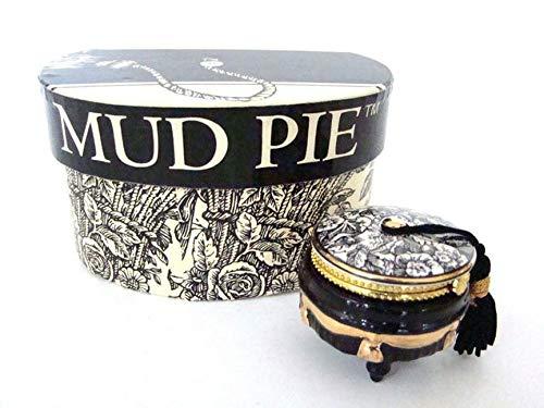 Mud Pie Toile Footstool Porcelain Hinged -