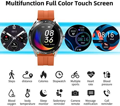 Smart Watch Fitness Tracker for Android iOS Phones,Body Temperature Smartwatch with Heart Rate Sleep Blood Pressure Blood Oxygen Monitor,Smart Watch for Men Women Compatible iPhone Android Samsung. 2