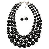 Zthread Multi-Layer Beads Rib Statement Stand Collar Necklace for Women Fashion Accessores (Black)