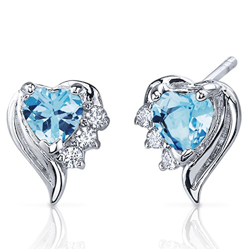 Swiss Blue Topaz Earrings Sterling Silver Heart Shape CZ Accent
