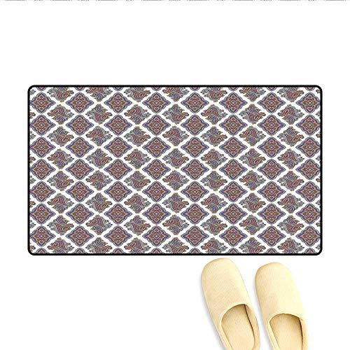 Doormat Wall Paper Like Design with Ornamental Floral Classical Tribal Pattern Image Bath Mat 3D Digital Printing Mat Multi Colored 20