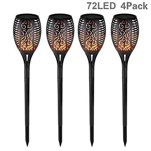 SecurityIng 72 LED Solar Flickering Flame Light, Waterproof Outdoor Tiki Fire Security Night Light Energy-Saving Torch Lantern Auto On/Off Decoration Landscape Lamp for Garden, Lawn, Patio, Yard, Wedding Party -4 Pack DiGiYes