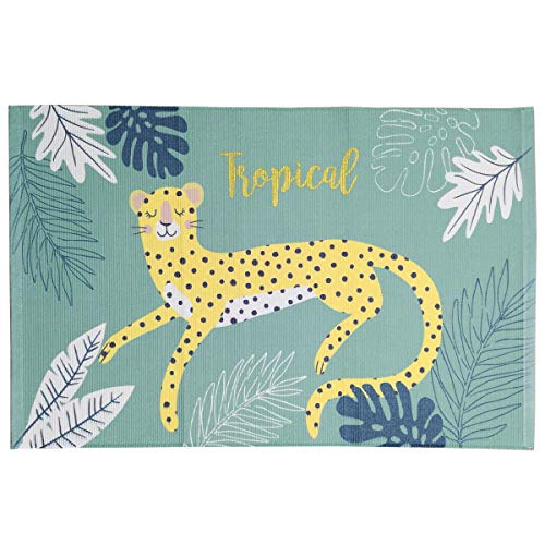 "Habudda Cotton Rug Washable Tropical Leopard Rug Kids Door Mat Nursery Area Rug Bath Mat Cotton Thread Braided Machine Washable Carpet 35""24""(90cm60cm) (Leopard)"