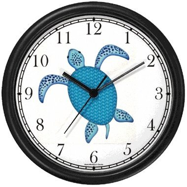 Blue Sea Turtle or Tortoise with Fancy Shell Design - JP Wall Clock by WatchBuddy Timepieces (Black Frame)