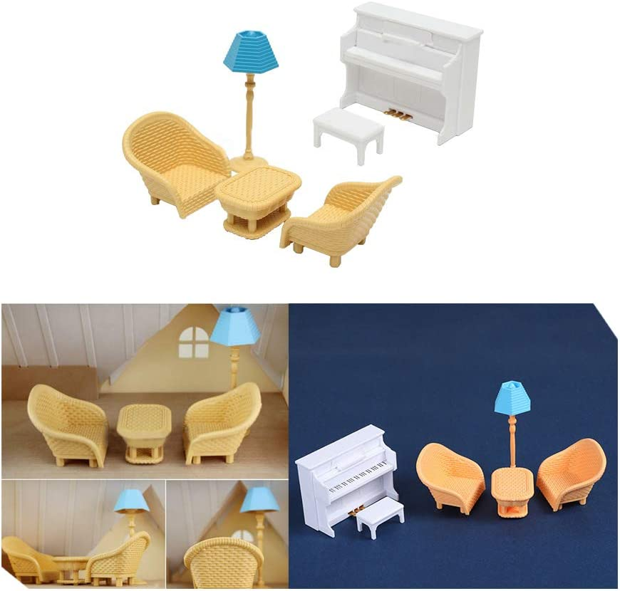 Acxico 6PCS Set Sofa Table Miniature Doll House Furniture Living Room Kids Play Dollhouse Accessories