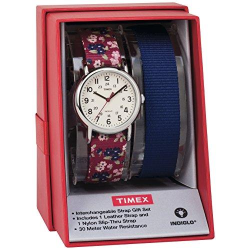 Timex Women's TWG015500 Weekender 31 Red Floral Nylon Slip-Thru Strap Watch Gift Set + Blue Nylon Strap (Set Watch Timex)