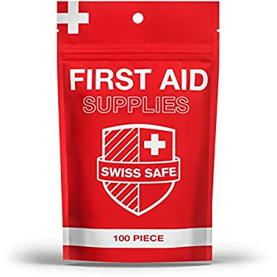 Small Basic First Aid Kit Supplies?100-Piece?: Prevent Infections & Clean Wounds. Small, Compact, Waterproof Emergency Kit