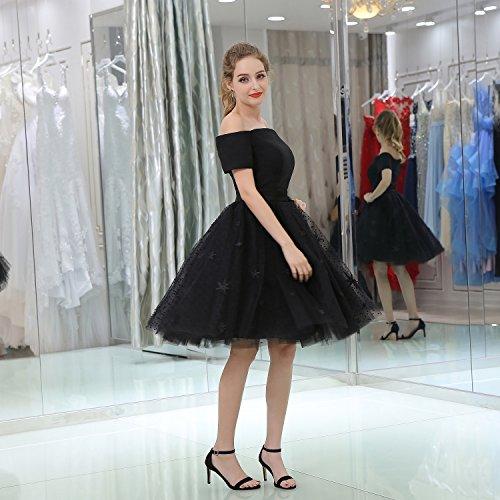 Shoulder Short Short Dress Lace Off Sleeve Black BessWedding Princess Gowns the Girls wfvwX