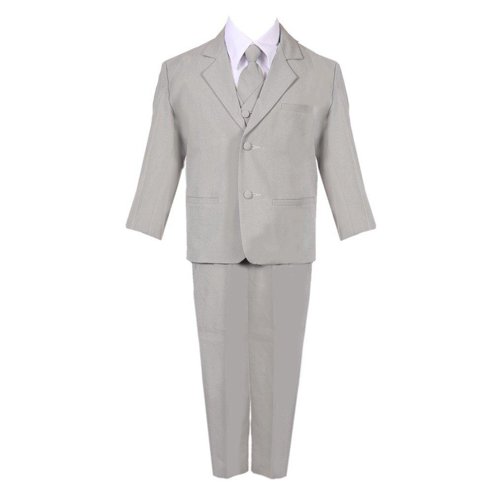Baby Boys Silver 5 Piece Classic Vest Jacket Pants Special Occasion Suit 3-24M