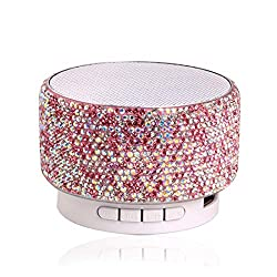 Pink Rhinestone Bluetooth Speaker with Mic