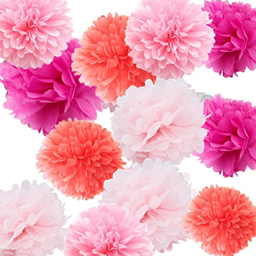 Fonder Mols 12pcs 8'' 10'' 14'' PINK PARTY Pom Poms Crafts Baby Girl Shower Decor Paper Flowers Photography
