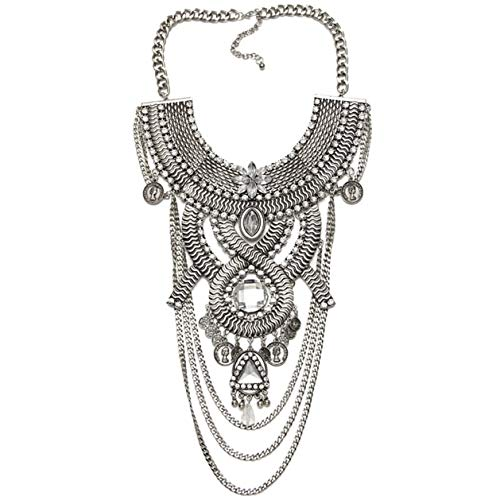 Lanue Womens Ethnic Tribal Boho Beads Coin Tassels Chain Necklaces Long Belly Dance Bohemian Jewelry (Silver) (Silver Necklace Tribal)