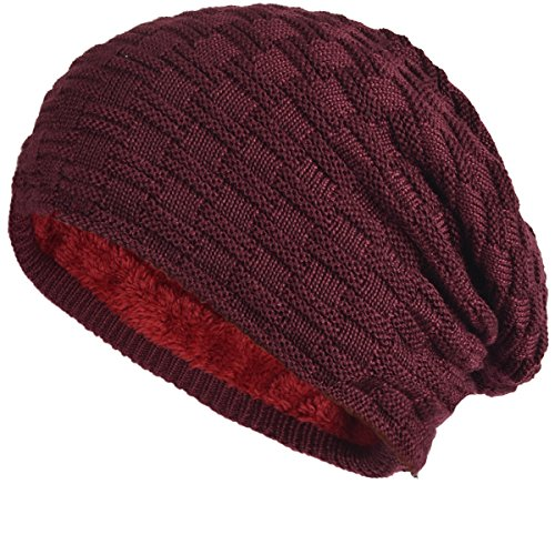 - Cool Men Roll Knit Beanie Rectangular Winter Skullcap Top Hat B816 (B754-Claret)