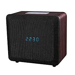 Samtronic Bluetooth Alarm Clock Radio with Speaker, Bedside Bluetooth Stereo Speaker for Call Built-in Microphone, 3.5mm Audio Port, TF Card and USB MP3 Player Hi-Fi Surround Sound Speaker-Black
