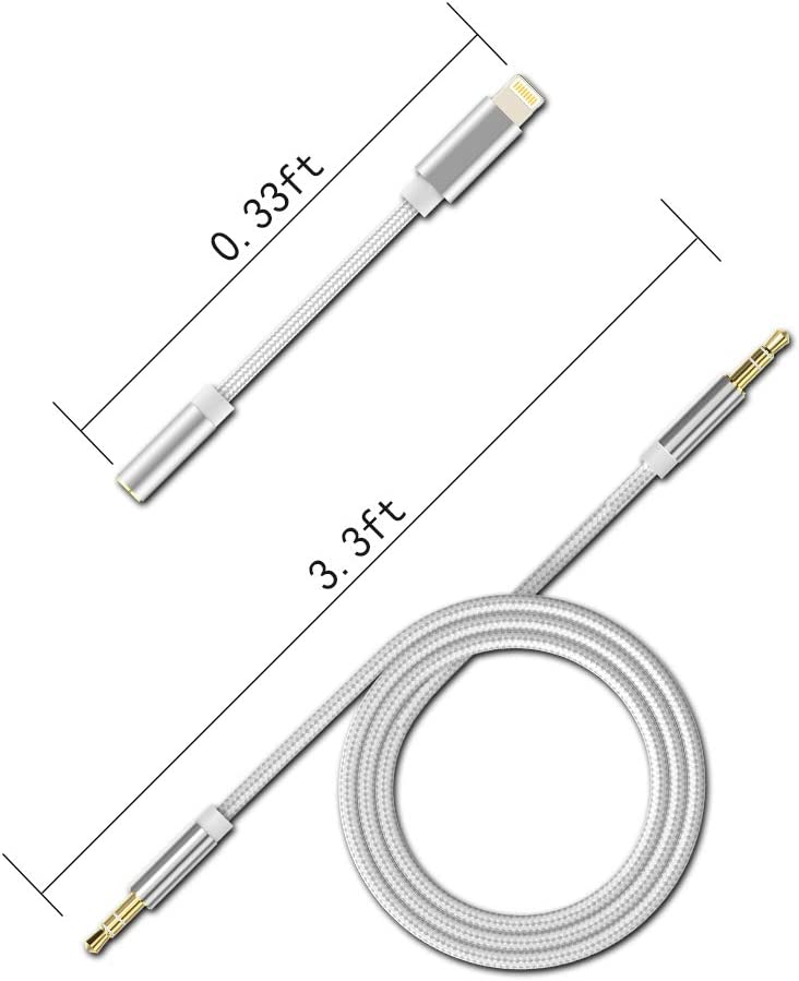 Car Aux Cable for iPhone for Car Stereo//Speaker//Headphone Adapter Compatible with iPhone 11//11Pro//X//8//8Plus//7//7Plus Silver Support IOS 10//11//12//13 and Above Aux to iPhone Cord Aux Cord for iPhone
