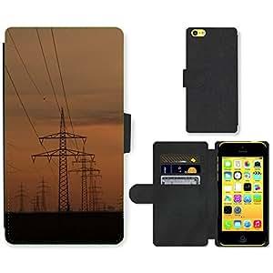 CARD POCKET BOOK CASE PU LEATHER CASE // M00146660 Líneas eléctricas Torres de energía // Apple iPhone 5C