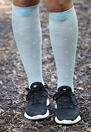 Mojo Black with White Polka Dot 20-30mmHg Knee High Compression Socks - Moisture Wicking Coolmax Material & Terry Foot - Firm Graduated Medical Compression 20-30mmhg (2XL, Grey/Blue dots)