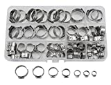 WGCD 80 PCS Stainless Steel Single Ear Hose Clamps Assortment Kit