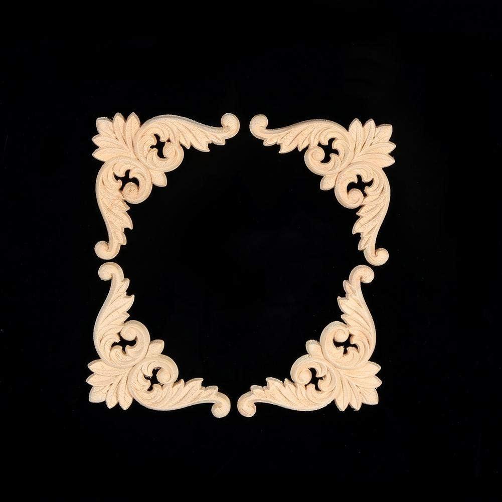 8 * 8 Forma di Fiore mobili Decoro Non Dipinto Pasamer 4PCS Gomma Legno Intagliato Angolo onlay Applique