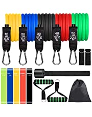 Sensyne Resistance Bands Set 16PCS Exercise Band for Working Out Up to 150 lbs, for Indoor and Outdoor Sports, Fitness, Suspension, Speed Strength, Baseball Softball Training, Home Gym, Yoga