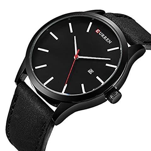 Men's Unique Analog Quartz Classic Business Casual Waterproof Dress Wrist Fashion Watch with Black Leather Band and Calendar Date Window (Leather Round Watch)