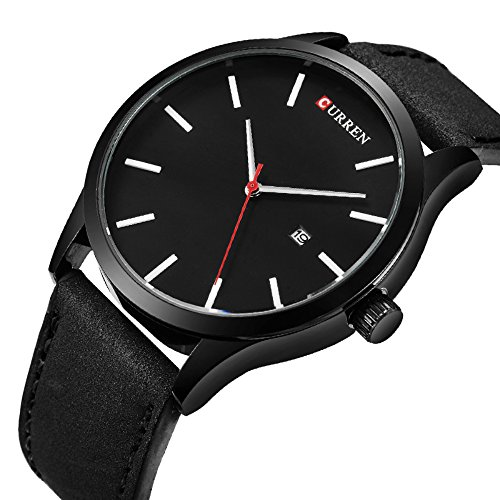 Watch Black Face Leather Band - 4