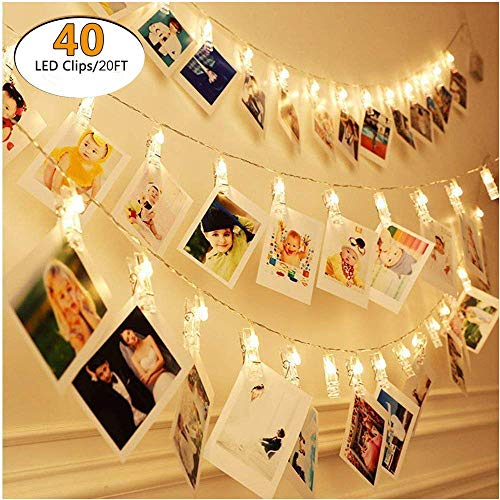 Waterproof Photo Clip String Lights - 40 Photo Clips 6M battery or USB Powered LED Picture Lights for Decoration Hanging Photo, Notes, Artwork Fairy Twinkle Wedding Party Christmas Home Decor Lights by YIZHIYI