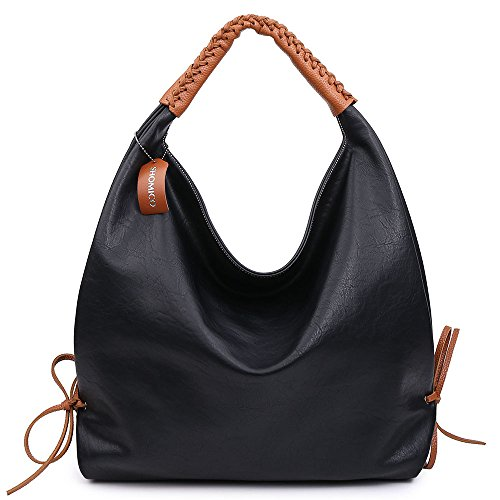 For Fashion Vintage New Shomico Hobo Bags Black Metallic Ladies Handbags Large Purse Women Shoulder q6CFEwC