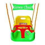 Littlefun 3-in-1 Infant to Toddler Swing Set Upgrade Anti-flip Snug & Secure Detachable Children Outdoor Play Patio Garden Amusement Park Equipment (Green Chair)