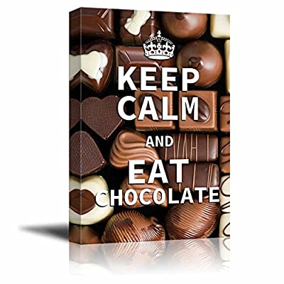 Canvas Wrap Wall Art - Keep Calm and Eat Chocolate | Modern Wall Art Stretched Canvas Prints Ready to Hang -16
