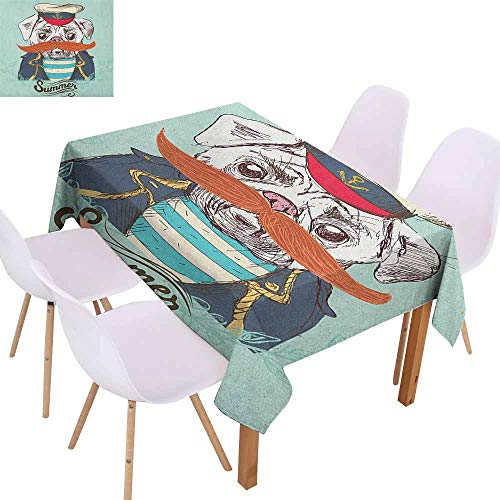 Marilec Easy Care Tablecloth Pug Captain Dog with Hat Mustache Jacket and Shirt Cute Animal Funny Image and Durable W60 xL84 Navy Blue Pale Blue Orange ()