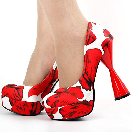 Print PeepToe White Pump Party Heel Story LF40812 Glamorous Floral Show Cone Platform qwTtIP