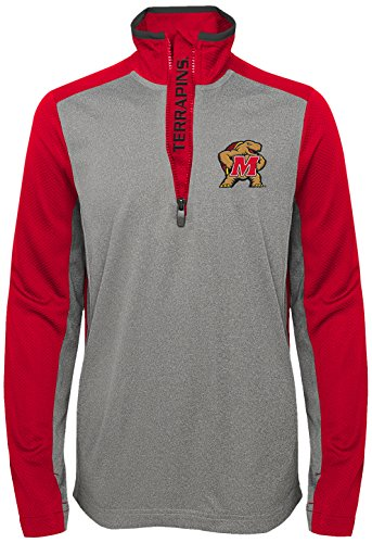 Maryland Terrapins Light - OuterStuff NCAA Youth Boys Matrix 1/4 Long Sleeve Zip Top Maryland Terrapins-Light Charcoal, Youth Boys Medium(10-12)