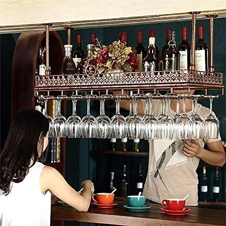 Estantería de vino Vino Bastidores de techo Altura ajustable montado colgantes titular de la botella de vino del hierro del metal del vidrio de vino del estante for copas cáliz Bastidores decoración d