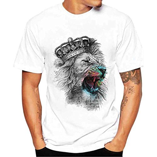 Pique Crewneck Short Sleeve T-shirt (Realdo Men's Casual T-Shirt, Fashion Short Sleeve Crewneck Lion Crown Print Top Tee (White,XXXX-Large))